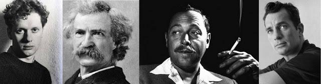 Hóspedes famosos do Chelsea Hotel, em Nova York: Dylan Thomas, Mark Twain, Tennessee Williams e Jack Kerouak