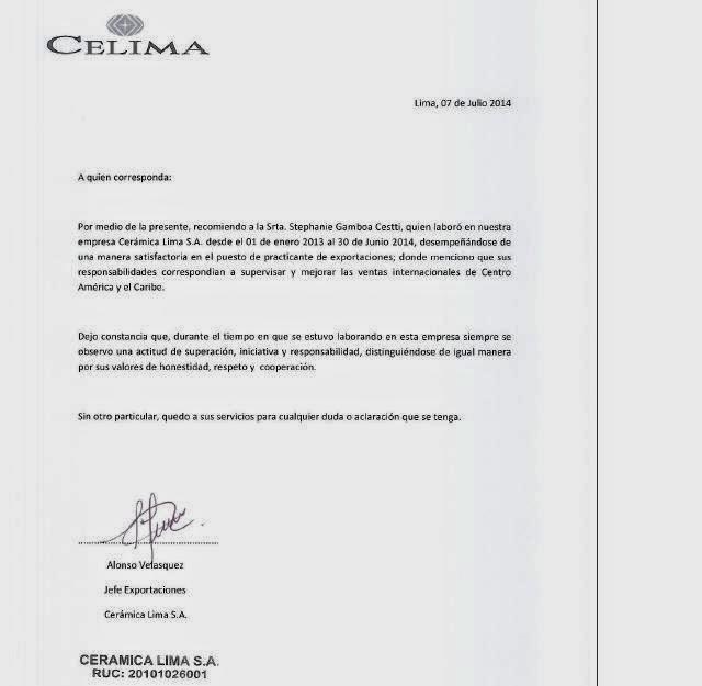 cartas de recomendacion laboral - Eczasolinf