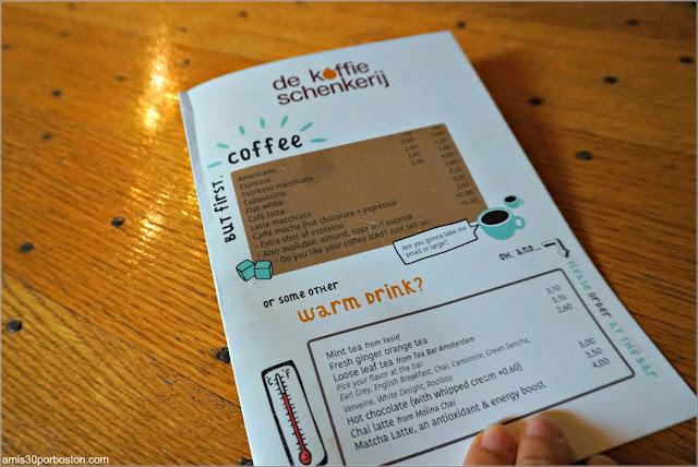 Carta de la Cafetería De Koffieschenkerij en Amsterdam