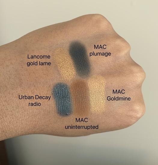Lancome gold lame, MAC plumage, Urban Decay radio, MAC uninterrupted, MAC goldmine swatches on dark skin