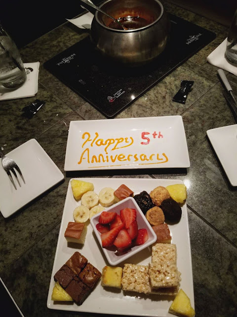 We celebrated our 5th anniversary with an all out dinner at The Melting Pot