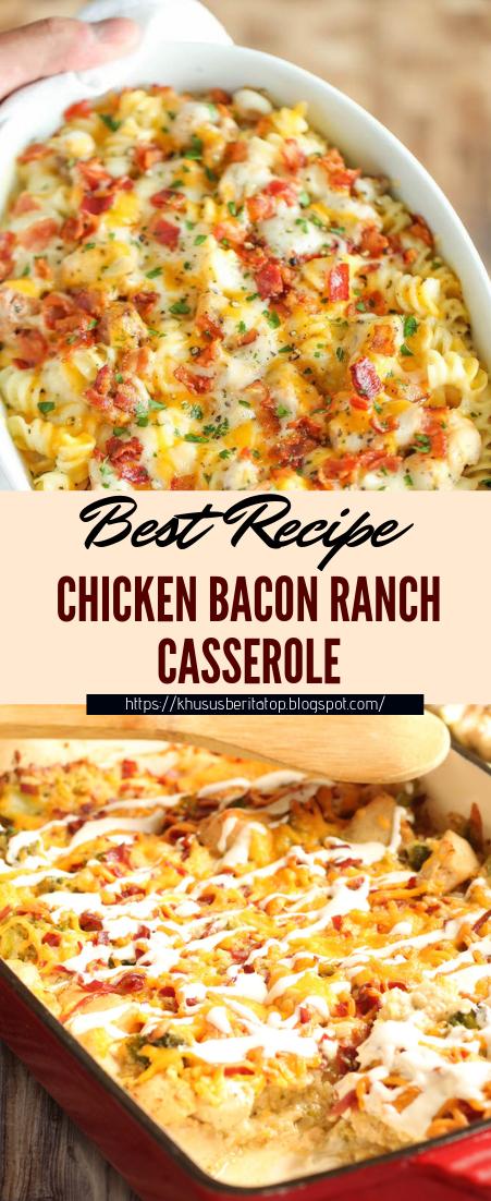 CHICKEN BACON RANCH CASSEROLE #dinnerrecipe #food #amazingrecipe #easyrecipe