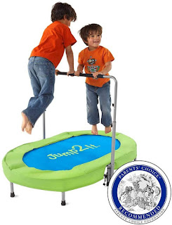 Jump2It Kids Portable 2 Person; Mini Trampoline with Adjustable Central Handle; trampoline with Protective Frame Cover; mini trampoline for toddler; HearthSong trampoline;