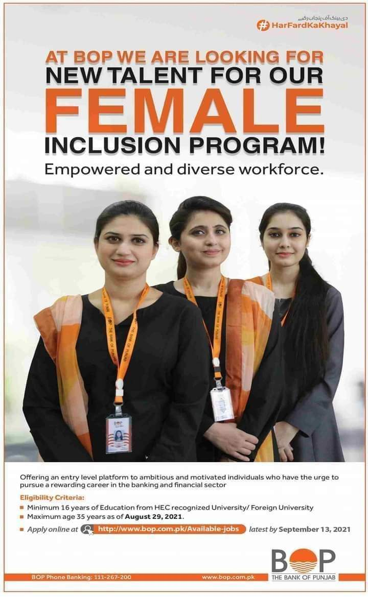 Bank Of Punjab Female Inclusion Program 2021 Apply Online-Jobs In Pakistan