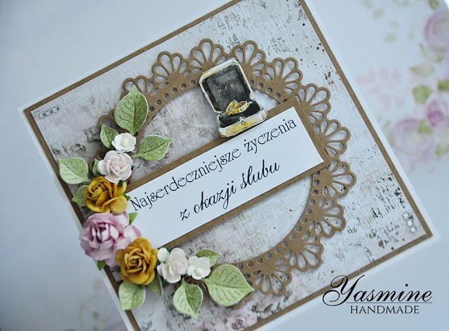 Kartka ślubna w brązie