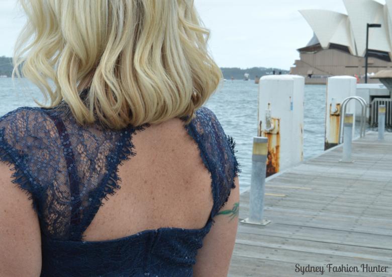 Events navy sequin lace dress back cutout detail