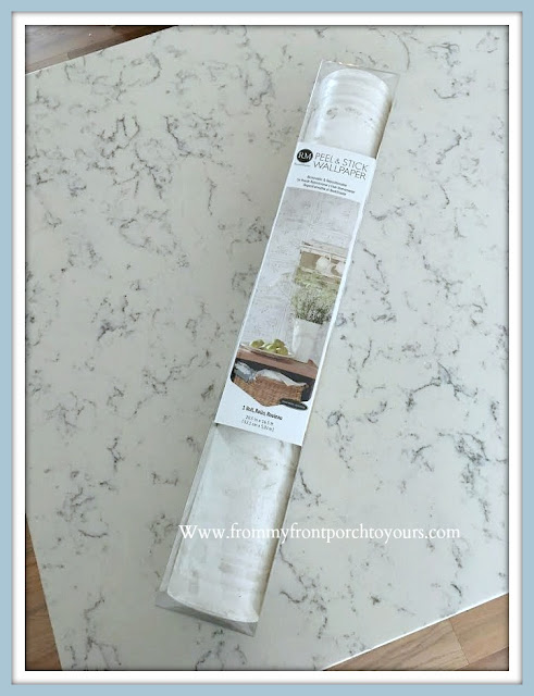 Cabinet -Shelving- Makeover-Peel & Stick-Wallpaper-Tutorial-Faux-Tin-From My Front Porch To Yours