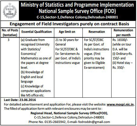 Current Recruitment Field Investigator in FOD Dehradun Openings - 03-www.mospi.nic.in