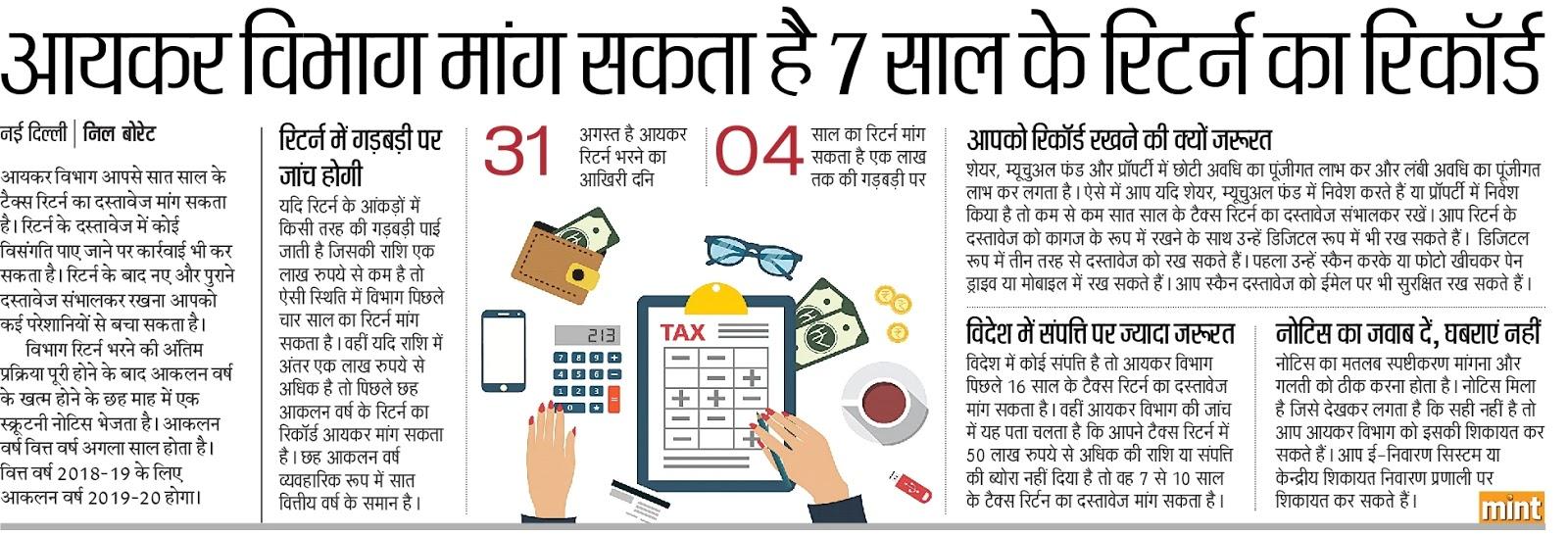 सावधान - income tax department मांग सकता है 7 साल के income tax return का रिकार्ड, गड़बड़ी पर होगी enquiry