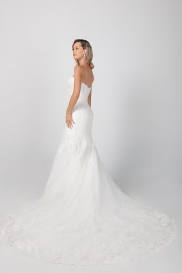 Michelle Roth Strapless Fit and Flare Lace Off-shoulder Bridal Dress back design