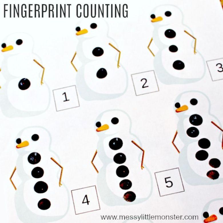 snowman fingerprint counting winter activity for kids
