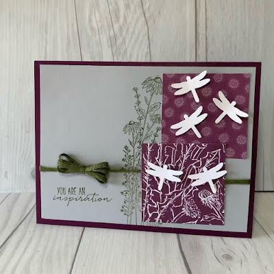 Flower and dragonflies greeting card using Garden Wishes Bundle