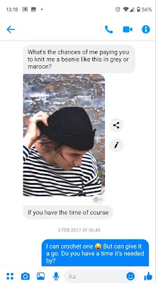"""Message from other person asking """"what's the changes of me paying you to knit me a beanie like this in grey or maroon?"""" followed by a photo of a guy wearing a black beanie with triangle edges. Response sent of """"I can crochet one (cheeky emoticon) but can give it a go. Do you have a time it's needed by?""""."""