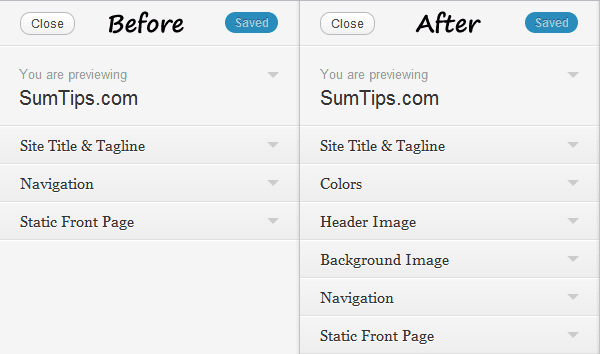 Theme Customizer WordPress 3.4