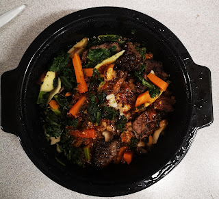 Overhead view of prepared contents of Whole & Simple Korean Inspired Beef Grain Bowl, from Aldi