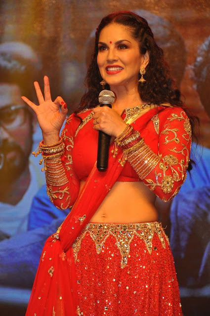 Sunny Leone Red Hot in Red Saree