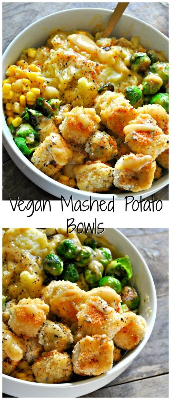 The creamiest vegan mashed potatoes, crispy baked tofu nuggets, roasted veggies, corn and the best dang vegan gravy!
