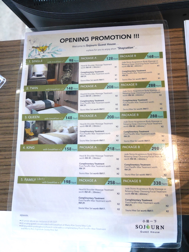 Opening promotional prices at Sojourn Guest House