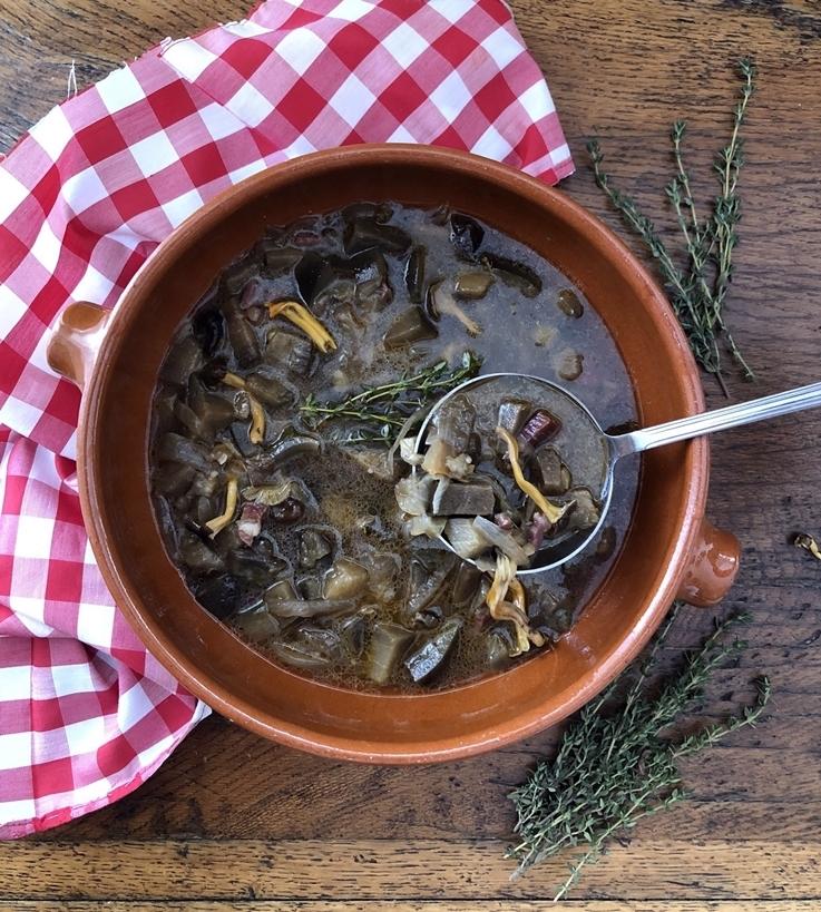 Sopa de berenjenas y camagrocs