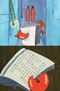 Polosan meme tuan krab 1 - tuan krab di toilet menyelesaikan teka-teki silang