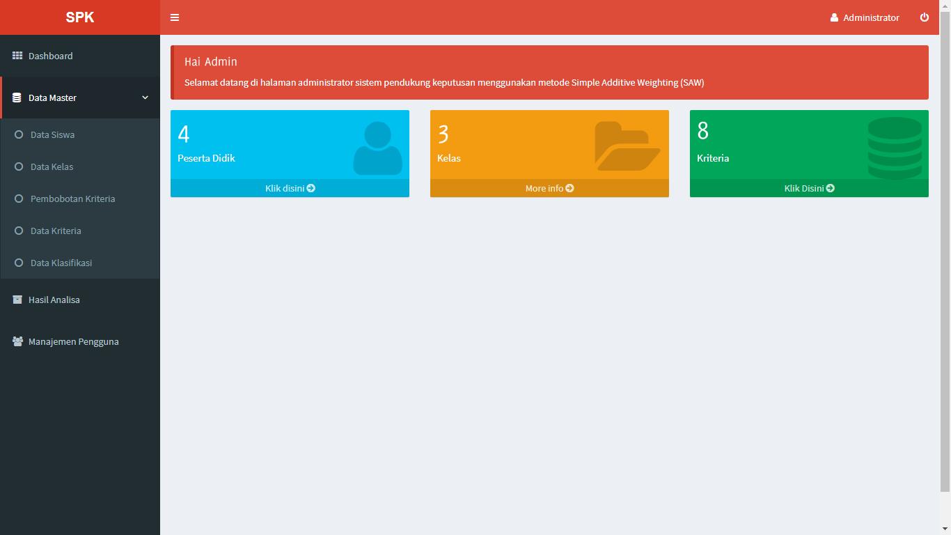 Aplikasi Sistem Pendukung Keputusan Pemilihan Siswa Berprestasi Menggunakan Metode SAW (Simple Additive Weighting) - SourceCodeKu.com
