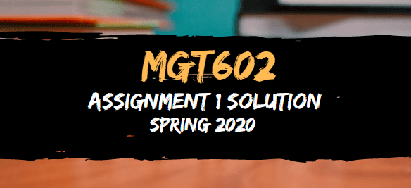 MGT602 Assignment 1 Solution Spring2020