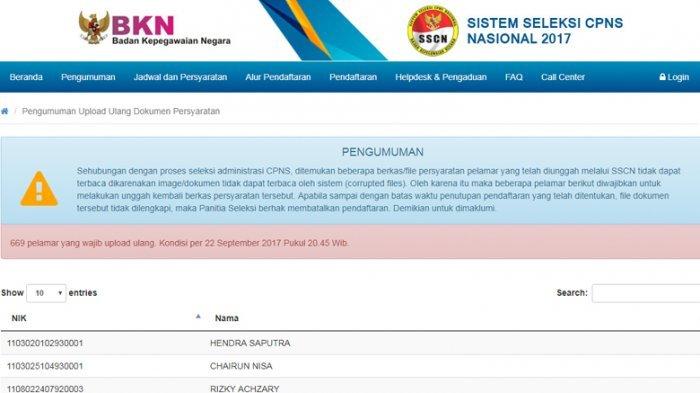 PENTING, 669 Pelamar CPNS Tahap II Wajib Upload Ulang, Adakah Nama Anda?