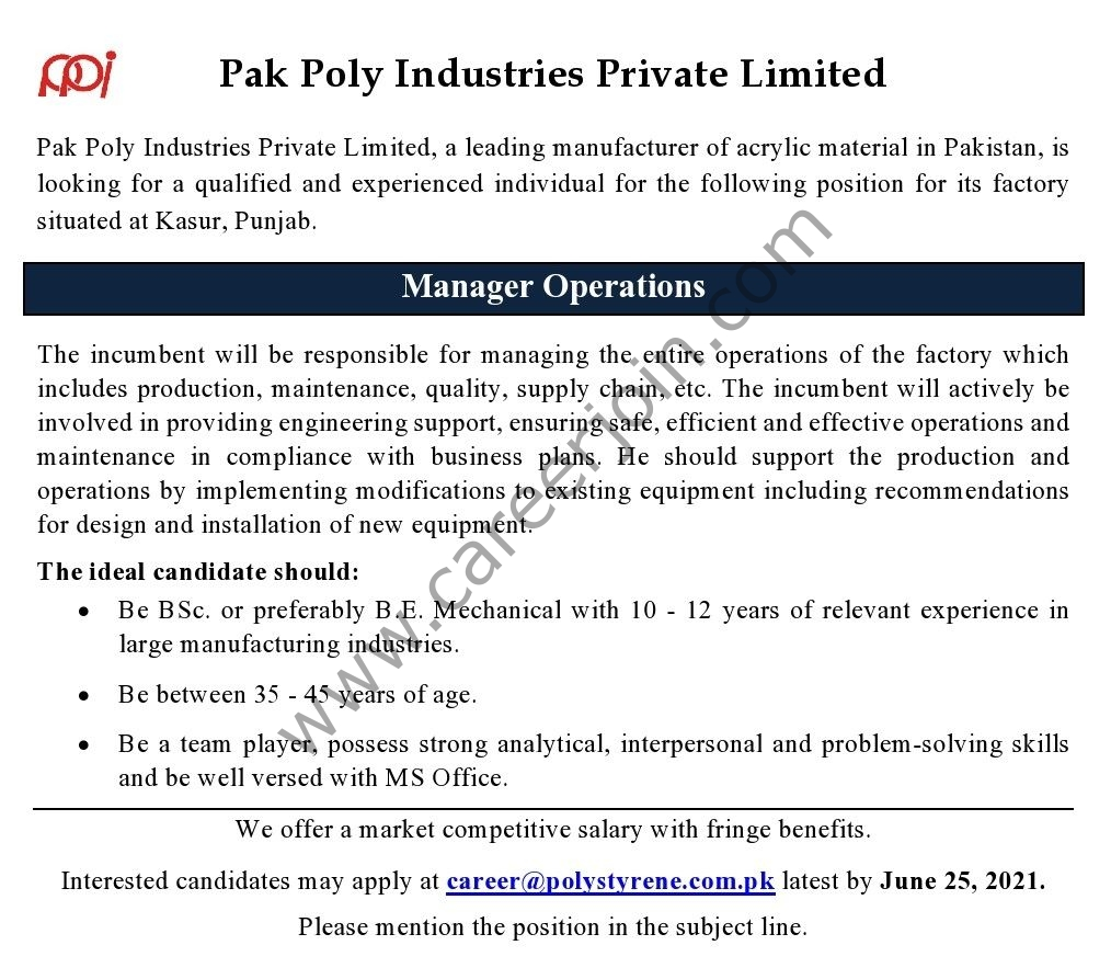 Pak Poly Industries Pvt Ltd Jobs 2021 in Pakistan