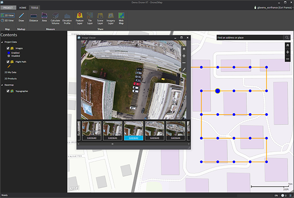 Drone2map for arcgis 12 est disponible arcorama de la plateforme arcgis qui permet dexploiter les photos collectes par un drone ou autre moyen aroport pour gnrer automatiquement des produits sciox Gallery