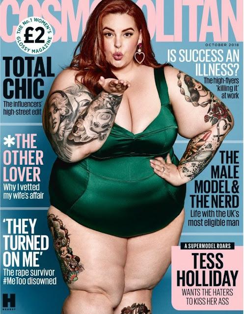 capa da revista Cosmopolitn com a modelo Tess Holliday