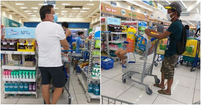 Kind man secretly gives money to another shopper