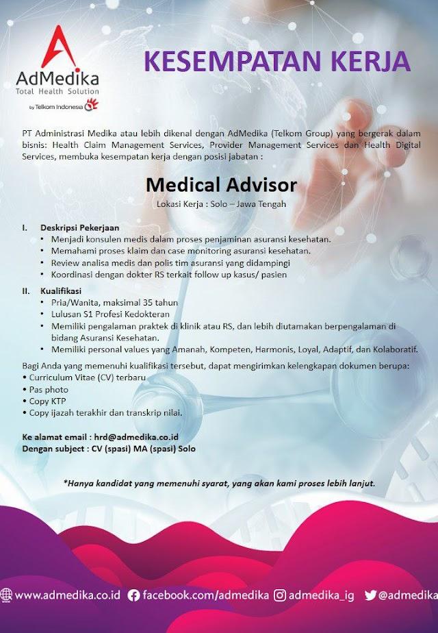 Loker Dokter Medical Advisor AdMedika Lokasi Solo, Jawa Tengah