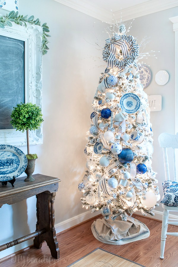 lighted French farmhouse Christmas tree