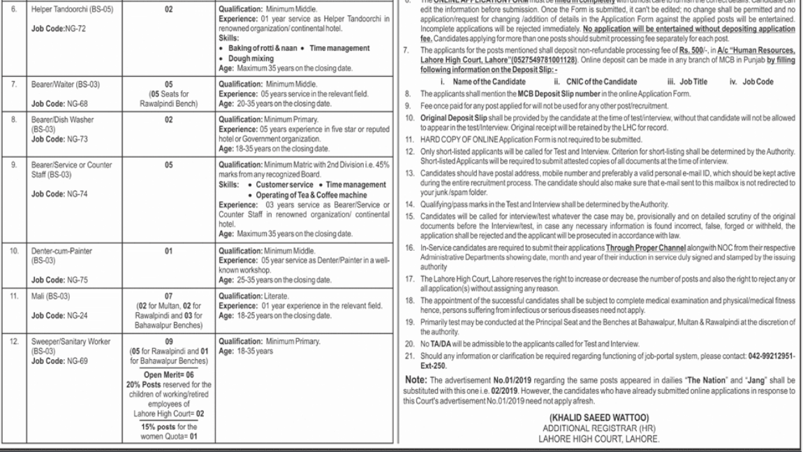 Advertisement for Lahore High Court Jobs