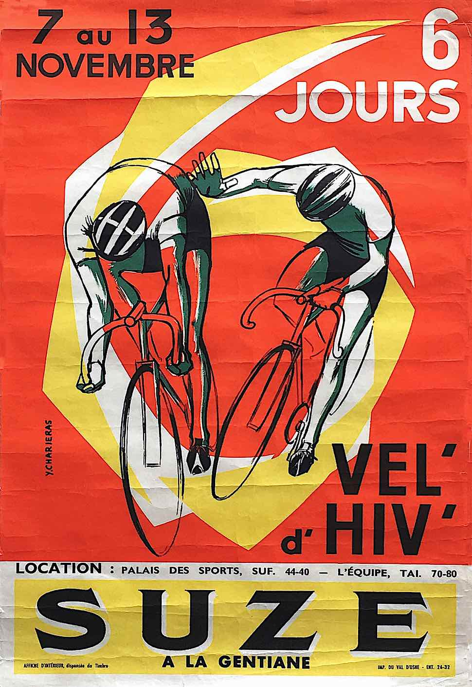 a Y. Charieras 1948 poster for SUZE a la gentiane bycycle racing