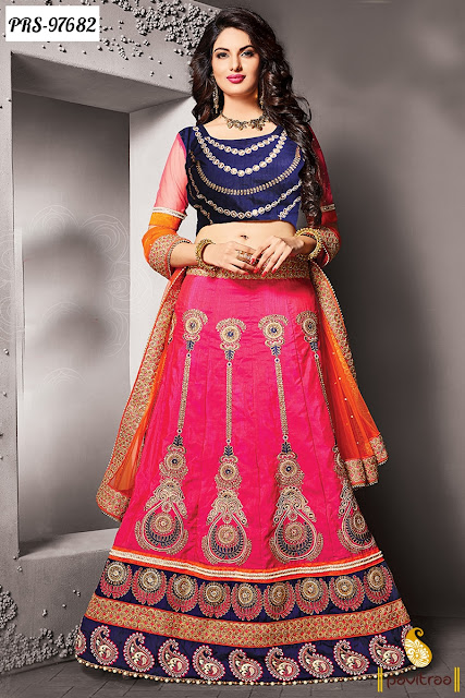 Blue and Pink Color Wedding Reception Lehenga Cholis Collection Online Shopping with Price and COD