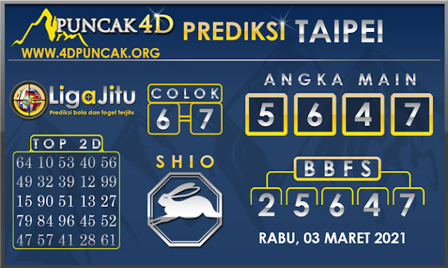 PREDIKSI TOGEL TAIPEI PUNCAK4D 03 MARET 2021