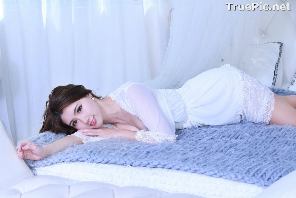Image Taiwanese Model - 張倫甄 - Lovely and Beautiful White Sleepwear - TruePic.net - Picture-10