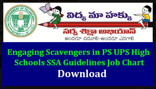 Engaging Scavengers in PS UPS High Schools SSA Guidelines Job Chart Download TSSA Hyderabad Guidelines on engaging the services of Personals for Maintenance of Schools during the Academic year 2018-19. Download Guidelines and Job Chart of Scavengers Watch Man in Primary Upper Primary and High Schools in Telangana. SSA-Guidelines-engaging-scavengers-in-ps-ups-high-schools-telangana-job-chart-download/2018/06/SSA-Guidelines-engaging-scavengers-in-ps-ups-high-schools-telangana-job-chart-download.html
