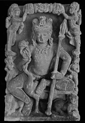 Skanda-Kartikeya seated on a peacock holding a spear. Kannauj, North India, 8th century CE.