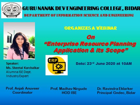 Webinar conducted by ISE Department on 23rd June 2020 by Ms.Sheetal K Alumnus on