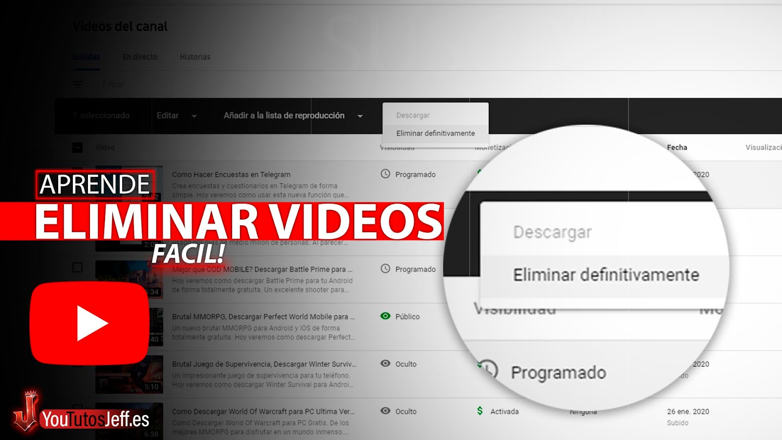 Como Eliminar un Vídeo de Youtube