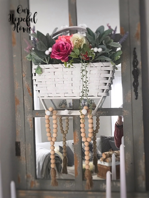 white painted thrifted hanging basket farmhouse decor
