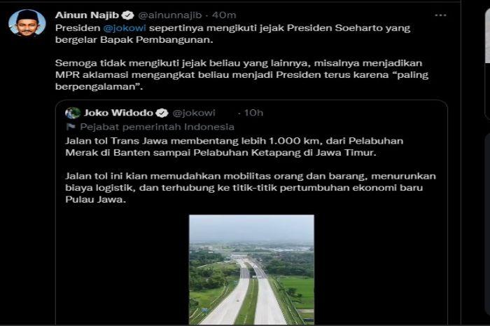 Pamerkan Jalan Tol Trans Jawa, Jokowi Disindir Ikuti Jejak Soeharto