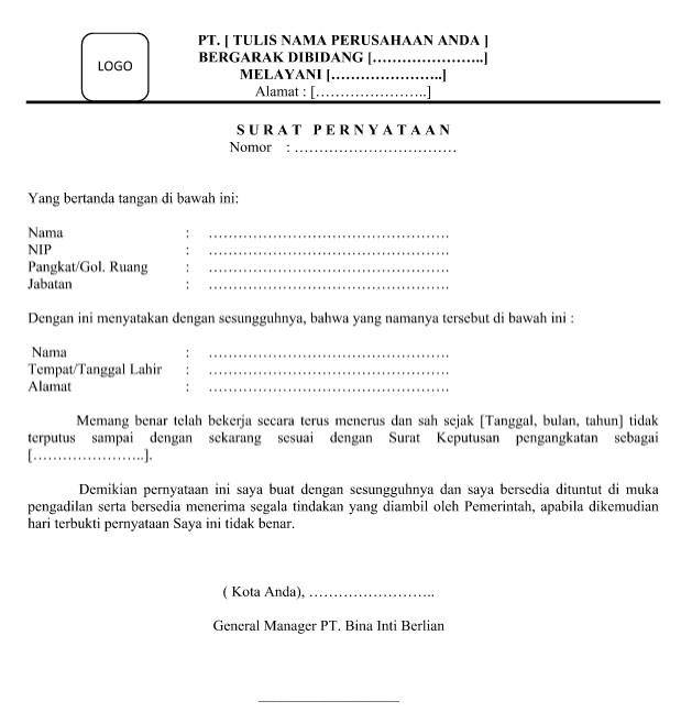 Download Contoh dan Format Surat Legalitas Kerja Format Word
