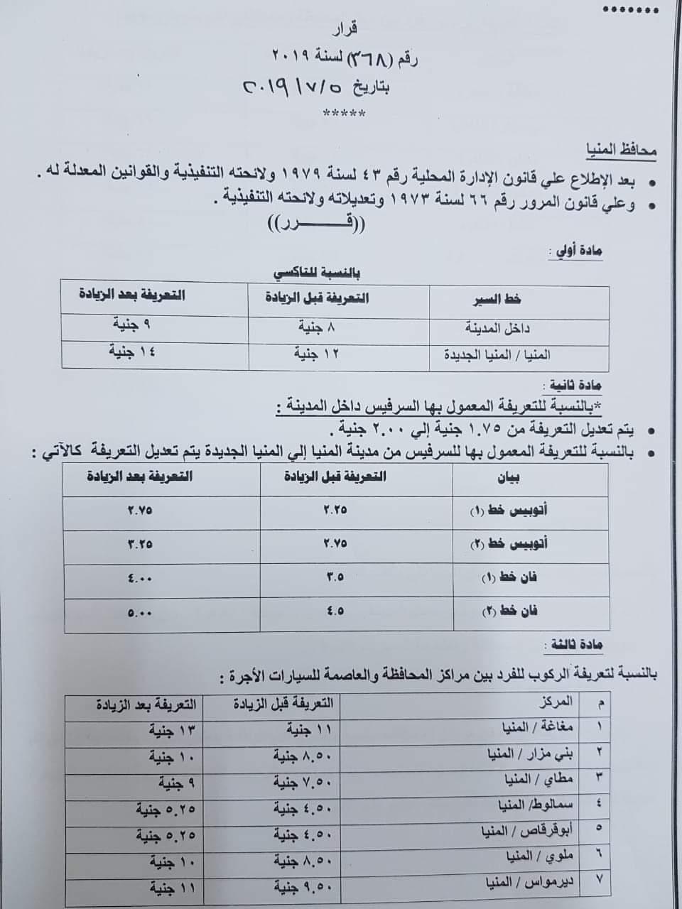 ننشر التعريفه الجديده للمواصلات داخل وبين المدن المصرية بعد زياده اسعار الوقود بجميع المحافظات FB_IMG_1562328770396