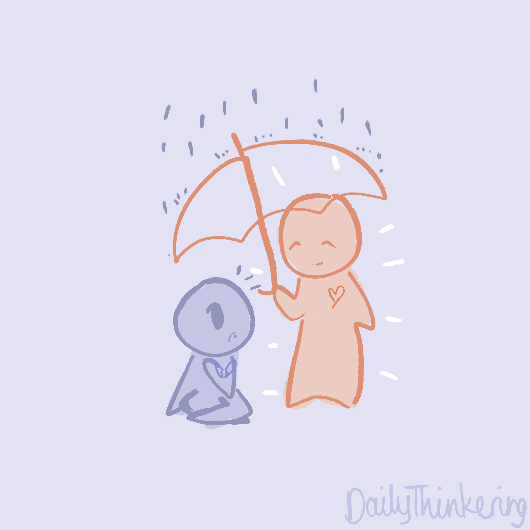 Person with a kind heart sheltering someone with an umbrella as it rains