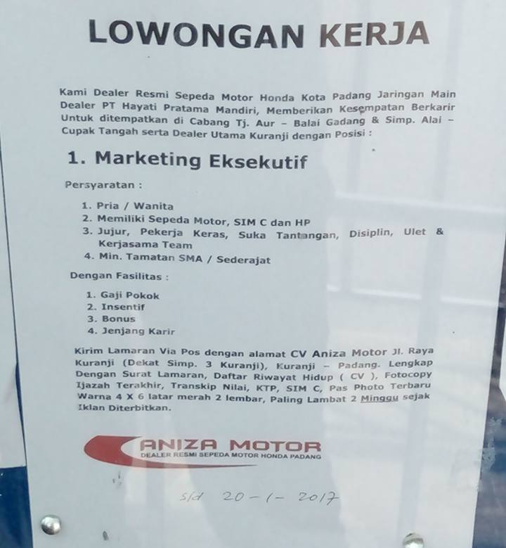 Lowongan Kerja di Padang – Aniza Motor – Marketing Eksekutif (Penutupan 20 Jan.2017)