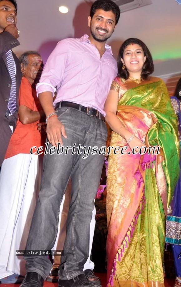 Arun Vijay Wife Aarthi In Silk Sari Saree Blouse Patterns
