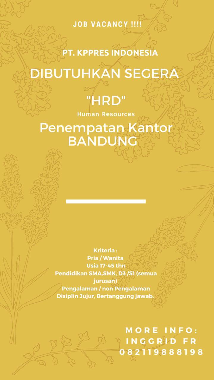 Lowongan Kerja HRD PT. Kppress Indonesia Bandung Februari 2020